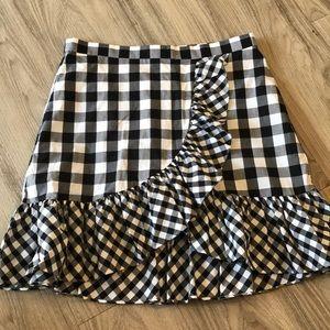 Jcrew black and white gingham ruffle skirt sz 10